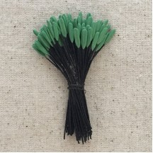 Green and Black Vintage Lily Stamen Flower Centers ~ Germany