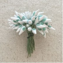 White and Green Fuzzy Pointed Vintage Flower Stamen Centers ~ Germany