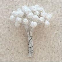 Flocked Pearled Nacre Vintage Flower Stamen ~ Germany