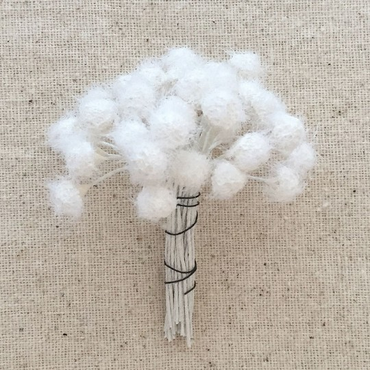Fuzzy White Vintage Flower Stamen ~ Germany