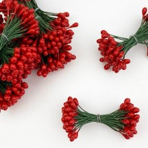 Green and Red Berry Stamen for Christmas Crafting ~ Wired Stems