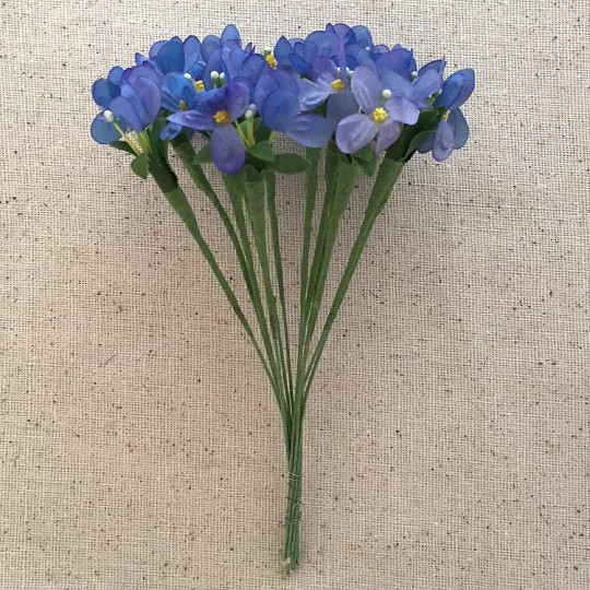 Bundle of 12 Blue Fabric Forget me Not Stems ~ Vintage Germany ~ Old Store Stock