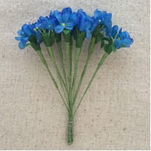 Bundle of 12 Cerulean Blue Fabric Forget me Not Stems ~ Vintage Germany ~ Old Store Stock