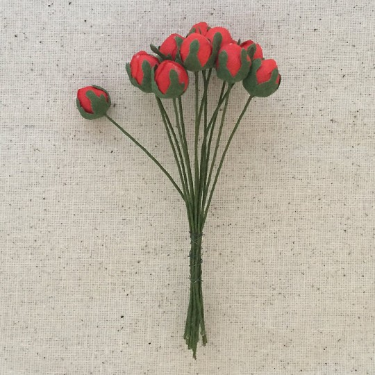 Bunch of 12 Red Fabric Rose Buds ~ Vintage Germany ~ Old Store Stock