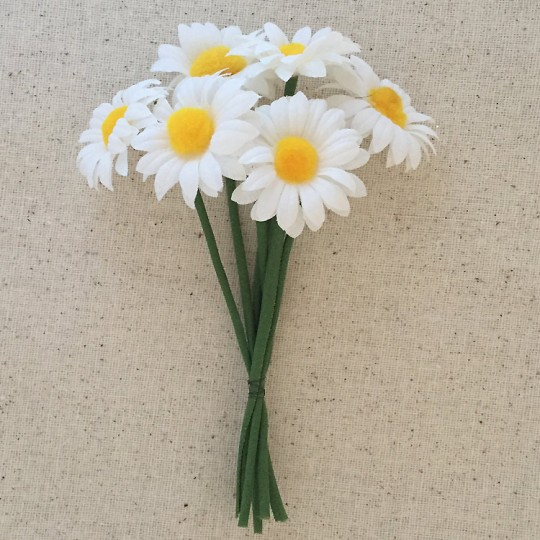 Bundle of 6 White Daisies with Fuzzy Yellow Centers ~ Vintage Germany ~ Old Store Stock