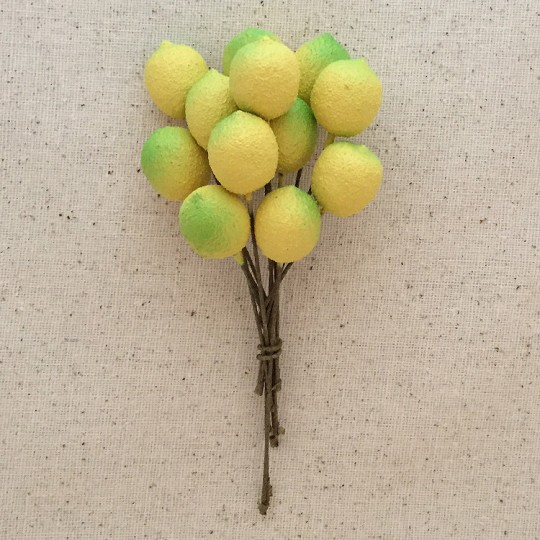 12 Vintage Yellow Textured Lemons ~  5/8""