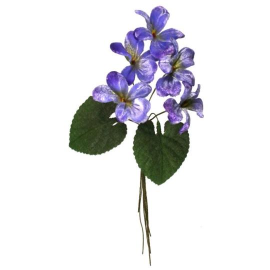 Spray of 5 Light Blue Ombre Violets ~ Czech Republic