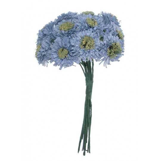 12 Pale Blue Paper Asters
