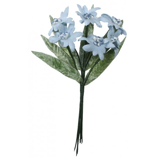 Pale Blue Felt and Fabric Edelweiss Flower Bunch
