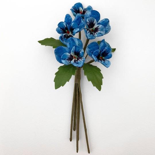 Spray of Small Velvet Pansies ~ Czech Republic ~ Blue Mix