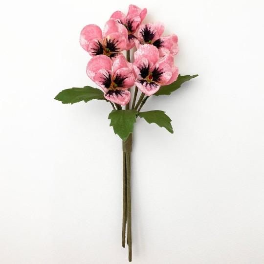Spray of Small Velvet Pansies ~ Czech Republic ~ Light Pink