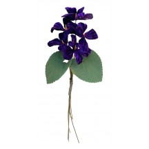 Spray of 5 Violet Purple Velvet Violets ~ Czech Republic