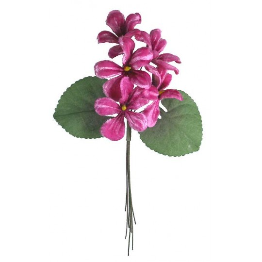 Spray of 5 Deep Pink Ombre Violets ~ Czech Republic