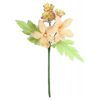 Spray Mixed Fabric Flowers in Pale Apricot ~ Czech Republic