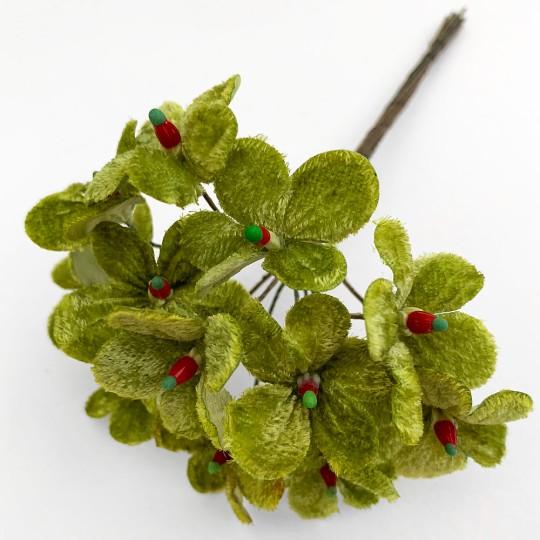 Bouquet of 12 Green Velvet Forget Me Nots ~ Czech Republic