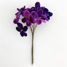 Bouquet of 12 Royal Purple Velvet Forget Me Nots ~ Czech Republic