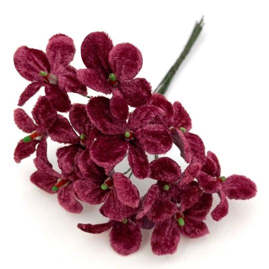 Bouquet of 12 Dusty Burgundy Velvet Forget Me Nots ~ Czech Republic
