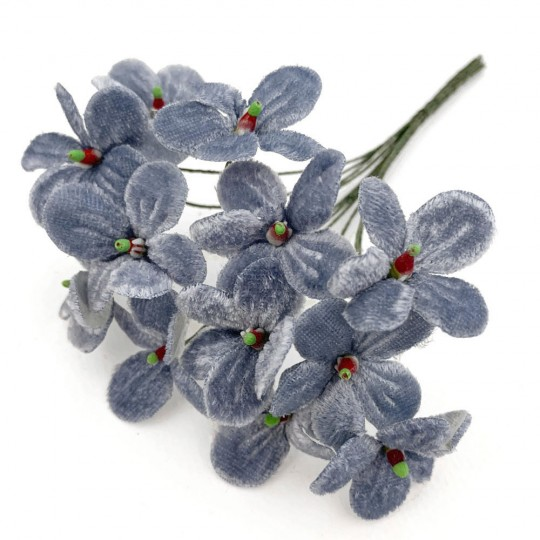 Bouquet of 12 Dusty Light Blue Velvet Forget Me Nots ~ Czech Republic