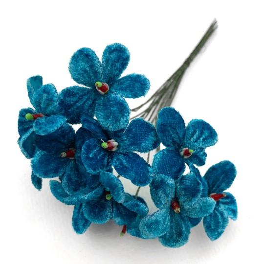 Bouquet of 12 Peacock Blue Velvet Forget Me Nots ~ Czech Republic