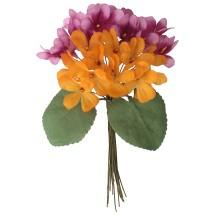 Bouquet of 24 Orange & Pink Fabric Violets ~ Czech Republic