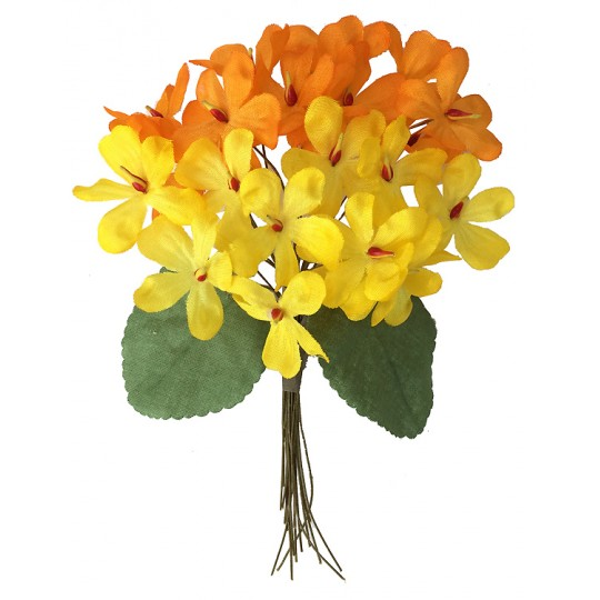 Bouquet of 24 Yellow & Orange Fabric Violets ~ Czech Republic