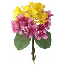 Bouquet of 24 Yellow & Pink Fabric Violets ~ Czech Republic