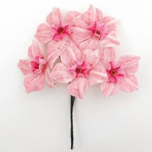 5 Velvet Fabric Narcissus ~ Czech Republic ~ Light Pink + Pink