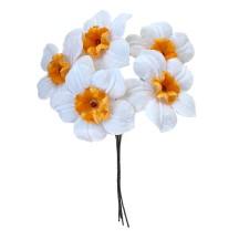 5 Velvet Fabric Narcissus ~ Czech Republic ~ White + Orange