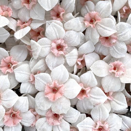 5 Velvet Fabric Narcissus ~ Czech Republic ~ White + Light Pink