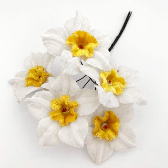 5 Velvet Fabric Narcissus ~ Czech Republic ~ White + Yellow