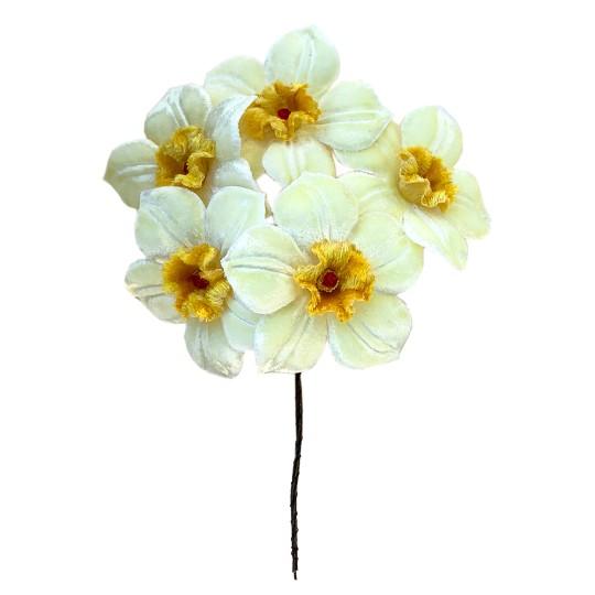 5 Velvet Fabric Narcissus ~ Czech Republic ~ Light Yellow + Yellow