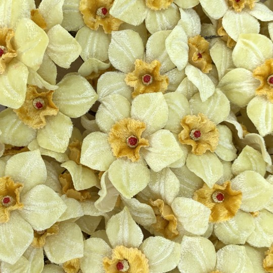 5 Velvet Fabric Narcissus ~ Czech Republic ~ Light Yellow + Yellow