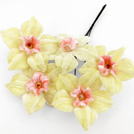 5 Velvet Fabric Narcissus ~ Czech Republic ~ Light Yellow + Pink