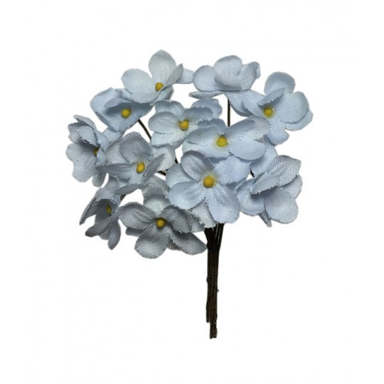 12 Light Blue Fabric Forget me Nots ~ Czech Republic