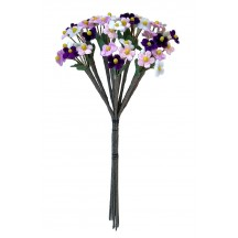 Bundle of Petite Mixed Velvet Forget me Nots ~ Czech Republic ~ WHITE, LIGHT PINK + VIOLET PURPLE