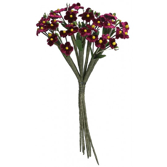 Bundle of Petite Velvet Forget me Nots ~ Czech Republic ~ BURGUNDY