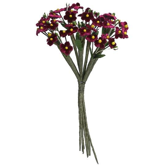 Mixed Bundle of Petite Burgundy Velvet Forget me Nots ~ Czech Republic