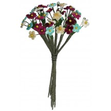 Mixed Bundle of Petite Aqua, Burgundy and Apricot Velvet Forget me Nots ~ Czech Republic