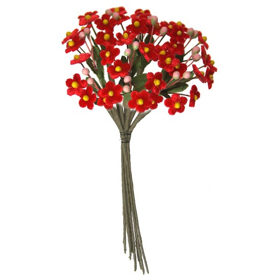 Bundle of Petite Velvet Forget me Nots ~ Czech Republic ~ RED