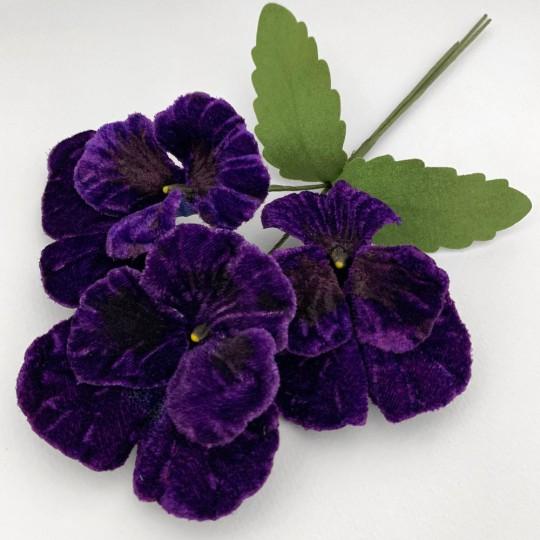 Spray of Large Dark Purple Velvet Pansies ~ Czech Republic