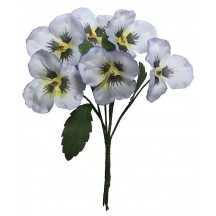 Spray of Pale Blue Fabric Pansies ~ Czech Republic