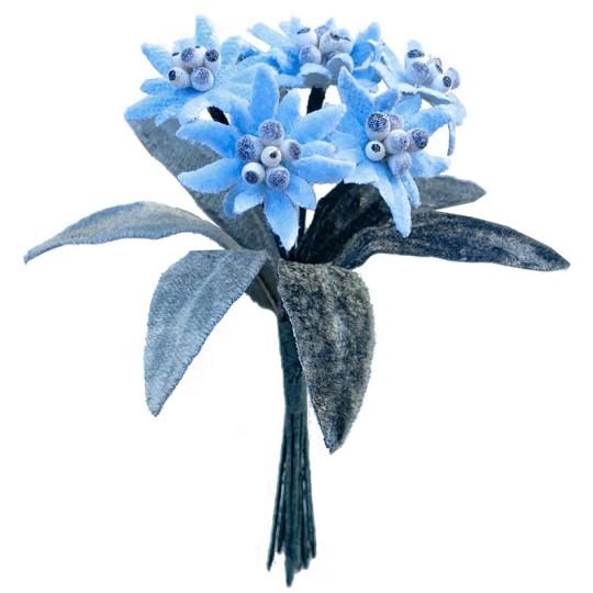 6 Velvet Fabric Edelweiss ~ Czech Republic ~ Light Blue
