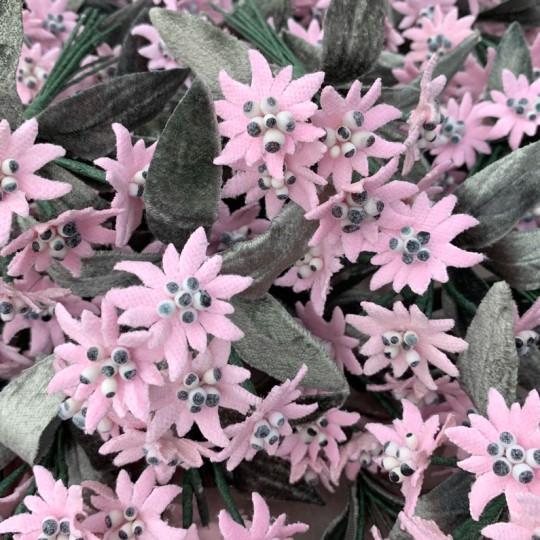 6 Velvet Fabric Edelweiss ~ Czech Republic ~ Light Pink