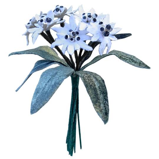 6 Velvet Fabric Edelweiss ~ Czech Republic ~ White