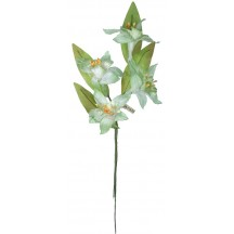 Sprig of Pale Aqua Fabric Orchid Millinery Flowers ~ Vintage Japan