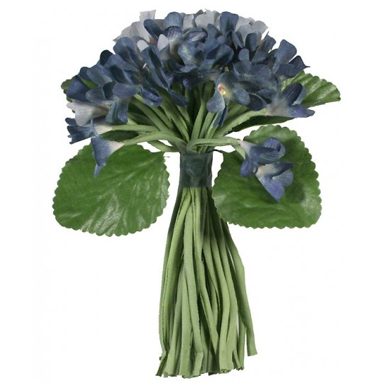Bouquet of 48 Blue Fabric Violets ~ Old Store Stock