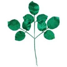 Sprig of Green Satin Rose Leaves ~ Vintage Germany