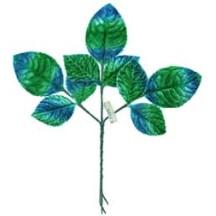 Sprig of Blue and Green Ombre Velvet Rose Leaves ~ Vintage Japan