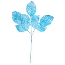 Sprig of Light Blue Ombre Velvet Rose Leaves ~ Vintage Japan
