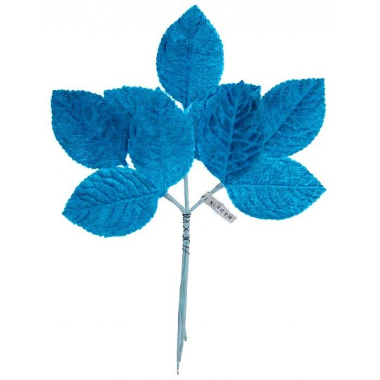 Sprig of Turquoise Velvet Rose Leaves ~ Vintage Japan